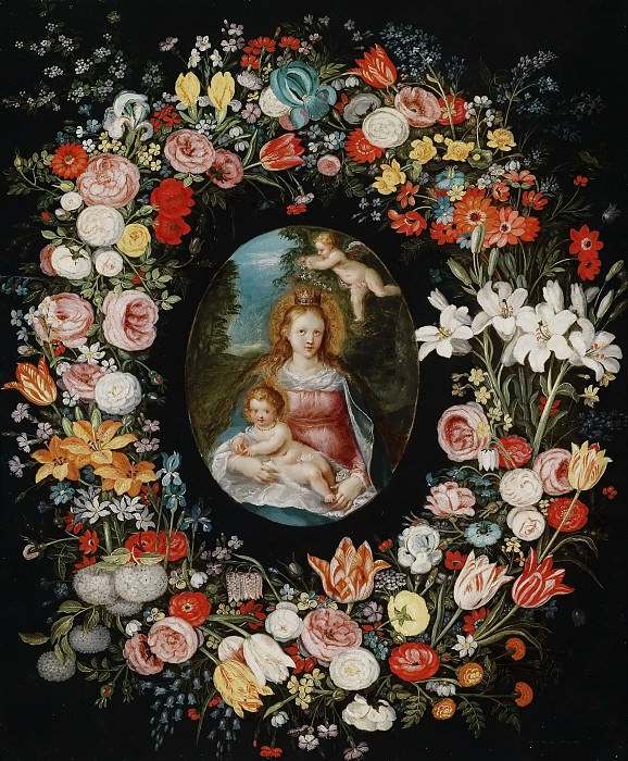 Virgin and Child in a flower garland. Jan Brueghel the Younger