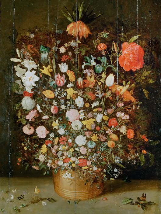 Bunch of Flowers in a Wooden Vase. Jan Brueghel the Younger