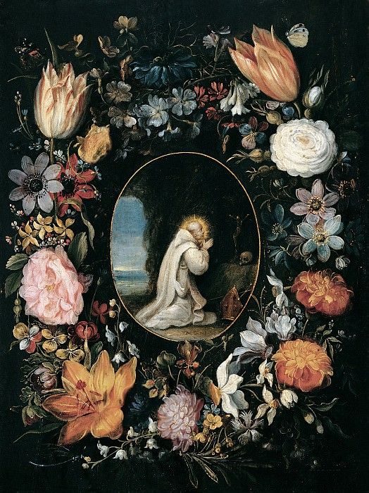 St. Bernard of Clairvaux in the garland of flowers. Jan Brueghel the Younger