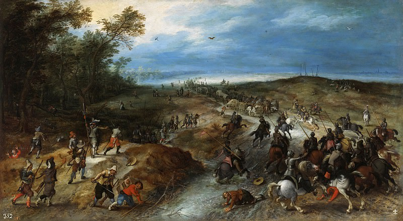 Surprise of a convoy. Jan Brueghel the Younger