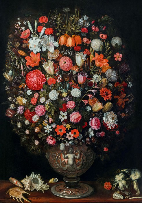 Flowers in a vase sculpted. Jan Brueghel the Younger