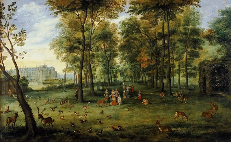 видению Garden archdukes Albrecht and Isabella at the castle near Brussels Kudenberg. Jan Brueghel the Younger