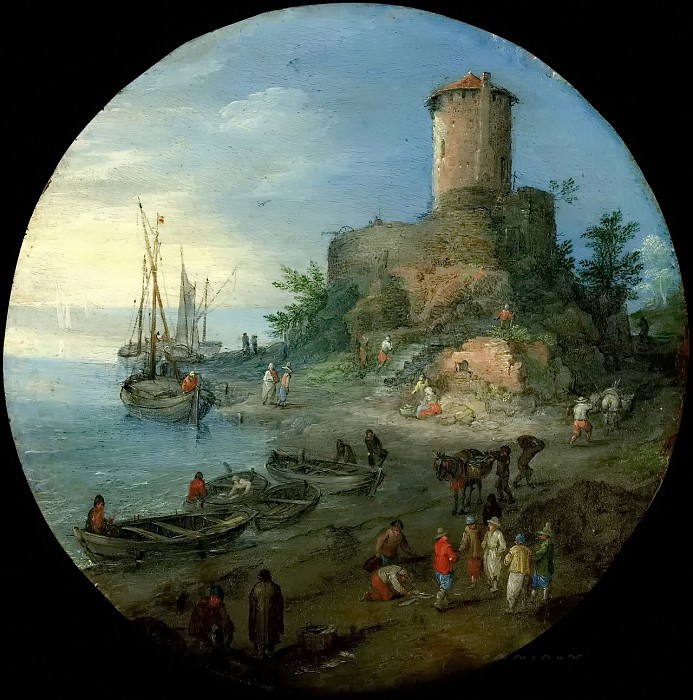 Coastal landscape with fishermen. Jan Brueghel the Younger