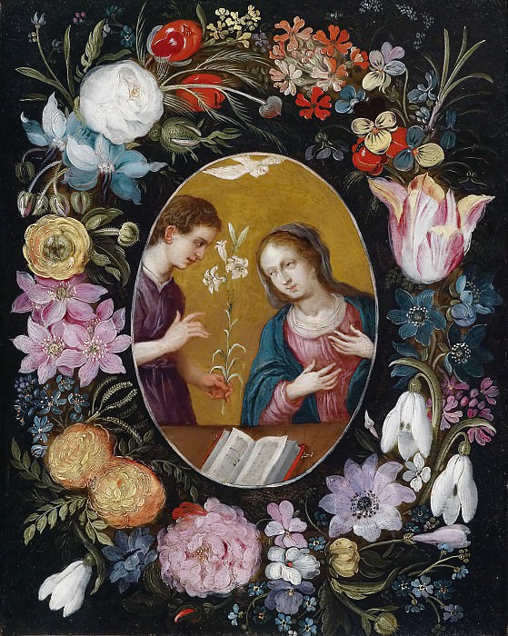 Annunication to the Virgin within a wreath of flowers. Jan Brueghel the Younger