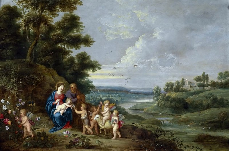 The Holy Family with St. John as a boy, angels and a lamb. Jan Brueghel the Younger