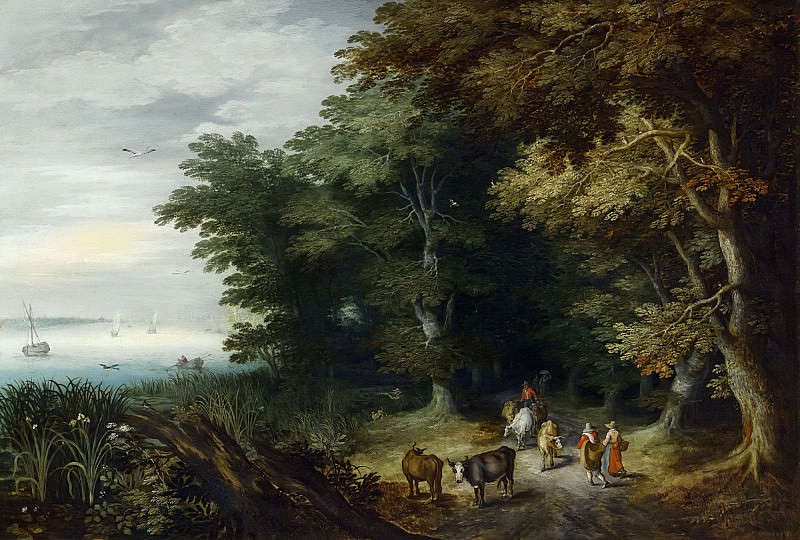 DROVERS AND TRAVELLERS ON A PATH AT THE MARGIN OF A FOREST. Jan Brueghel the Younger