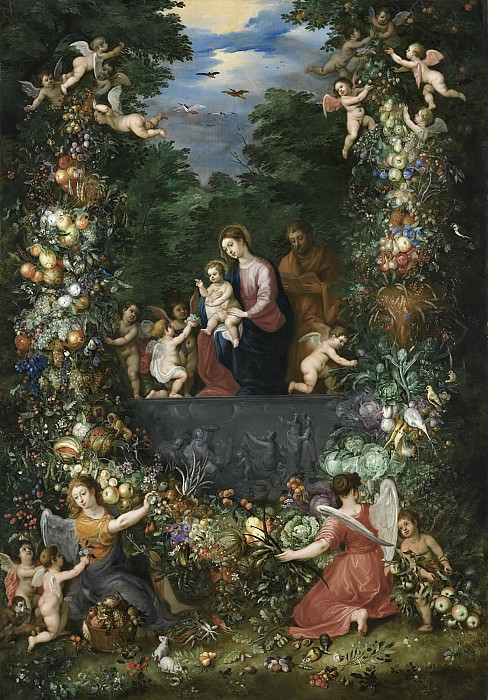 THE HOLY FAMILY WITHIN A GARLAND OF FRUIT, FLOWERS AND VEGETABLES HELD BY ANGELS. Jan Brueghel the Younger