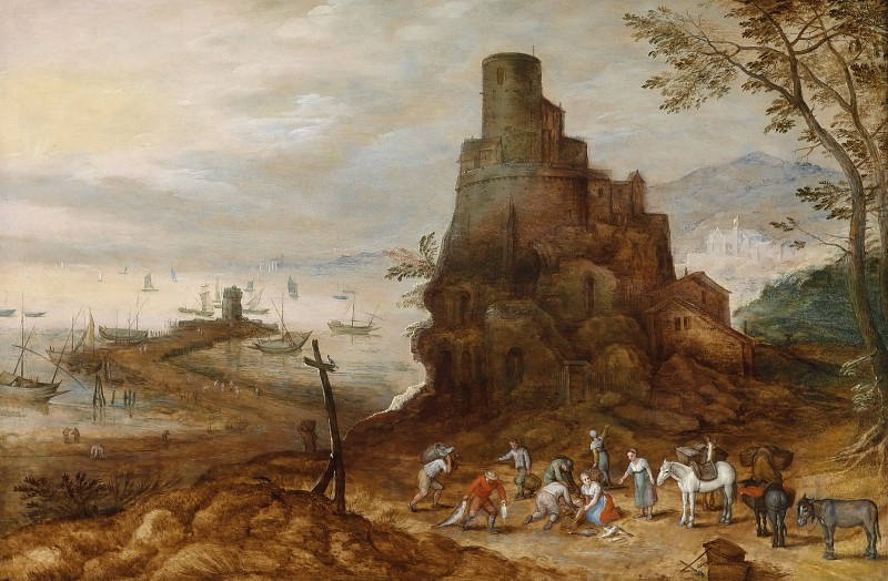 A coastal landscape with the Tomb of the Scipios. Jan Brueghel the Younger