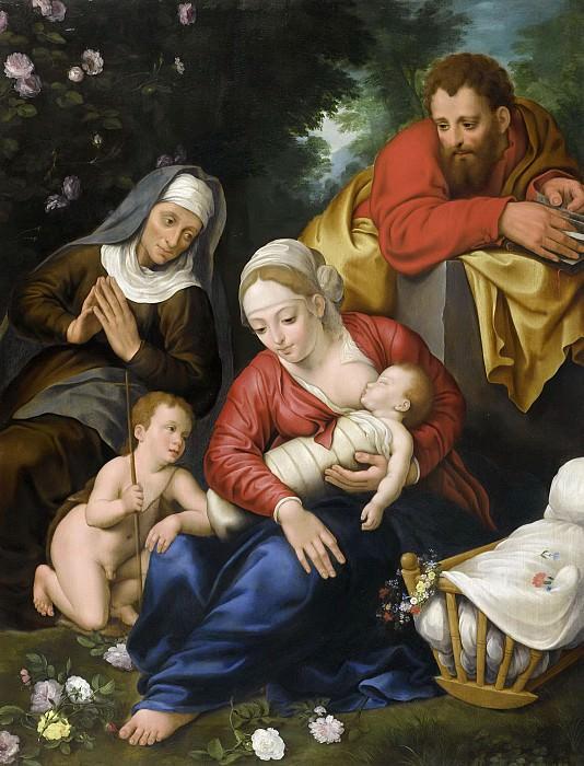 Святое Семейство со святой Елизаветой и маленьким Иоанном Крестителем (совместно с Мартеном Пепейном). Ян Брейгель Младший