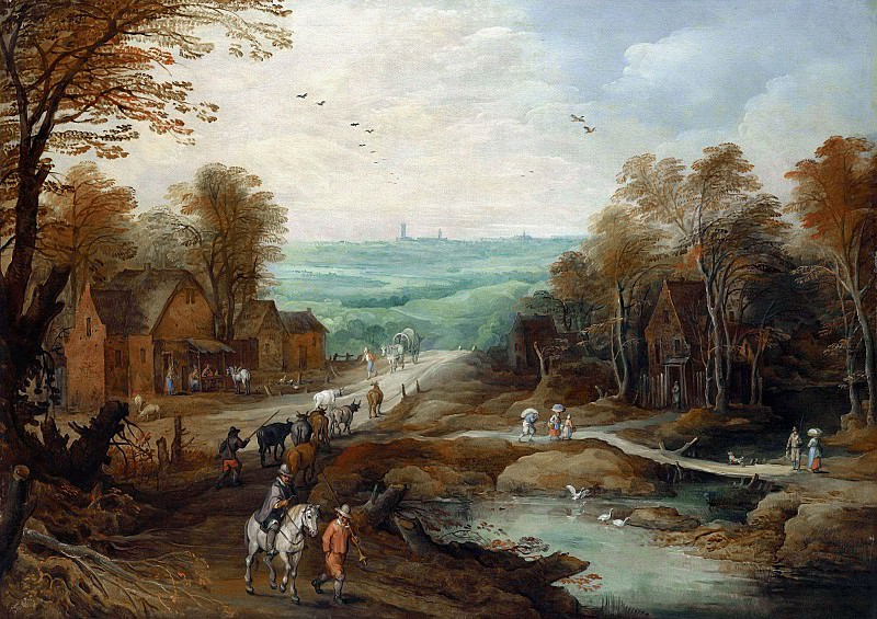 AN AUTUMN LANDSCAPE WITH TRAVELLERS AND HERDSMEN ON A PATH. Jan Brueghel the Younger