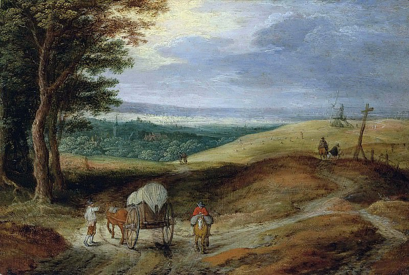 Landscape with peasants and a wagon. Jan Brueghel the Younger