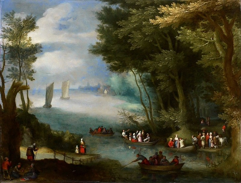A river landscape with sail boats. Jan Brueghel the Younger