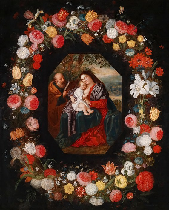 Holy Family in a flower garland. Jan Brueghel the Younger