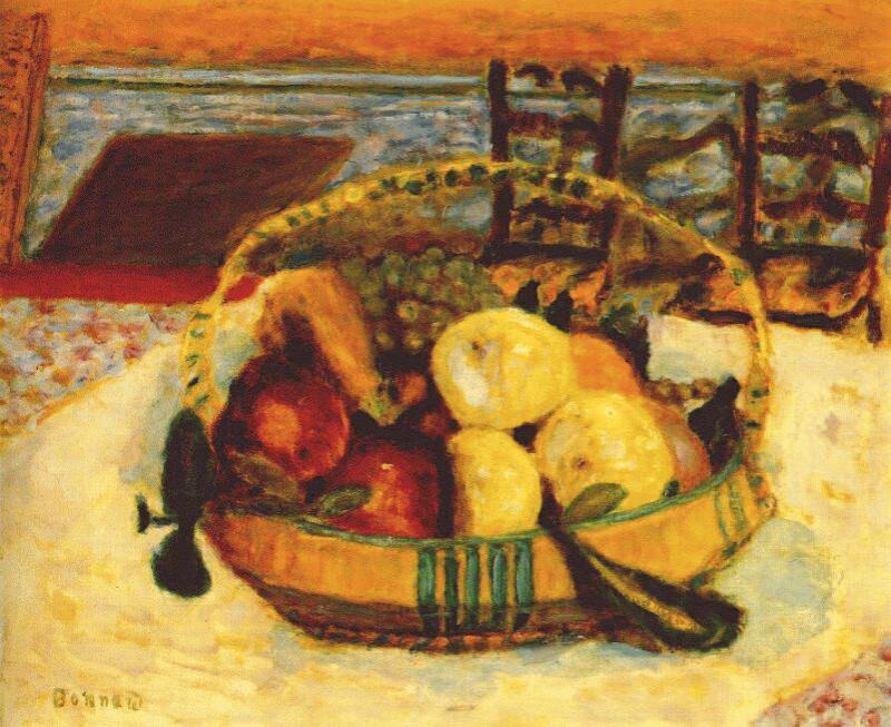 basket of fruit in dining room at le cannet 1928. Pierre Bonnard