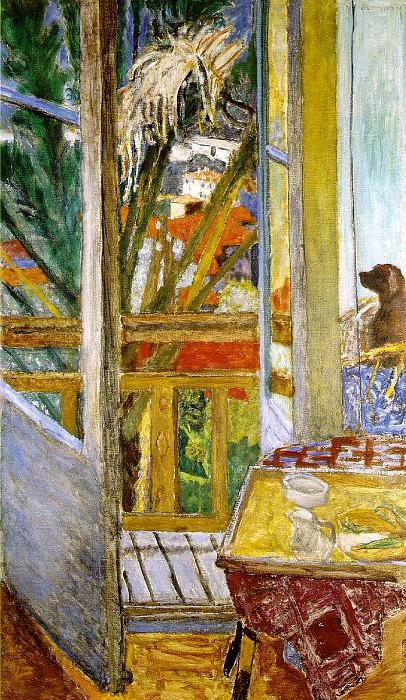 La porte-fenetre avec chien, 1927. Pierre Bonnard