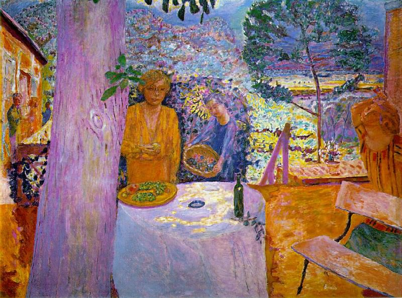 The terrace at vernon, 1920.reworked 1939. Pierre Bonnard