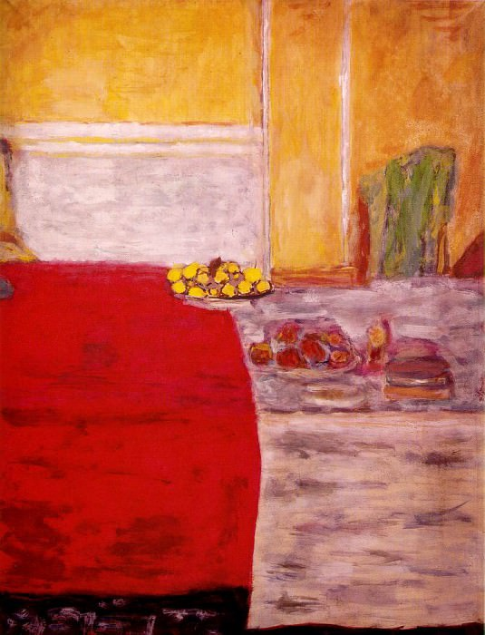 Fruits sur le tapis rouge, ca 1943, Gouache. Pierre Bonnard