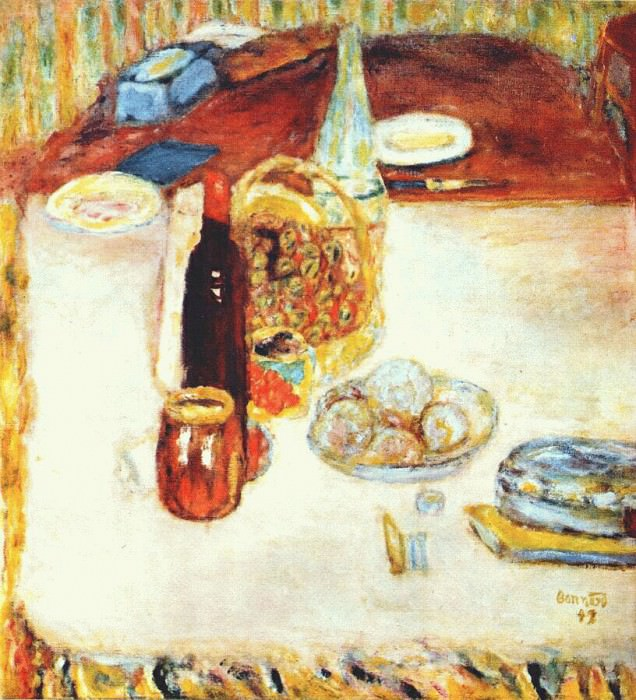 still life with bottle of red wine 1942. Pierre Bonnard