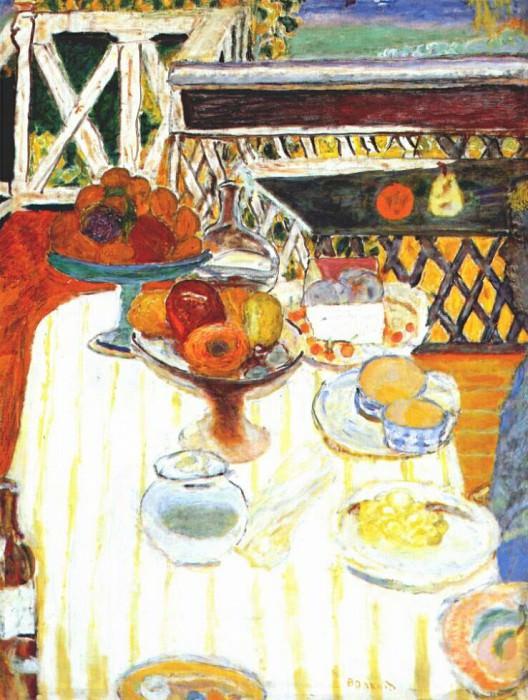Белая скатерть на столе. Пьер Боннар