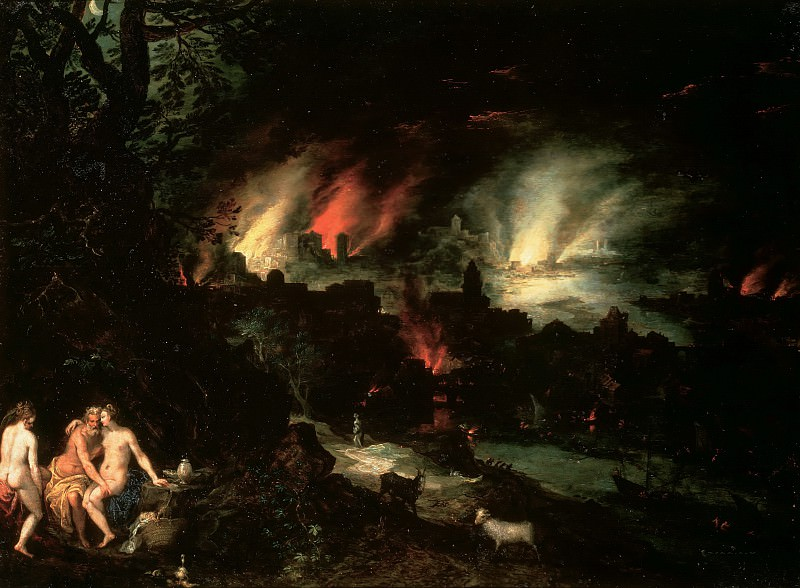 Lot and his daughters in front of Sodom and Gomorrah. Jan Brueghel The Elder