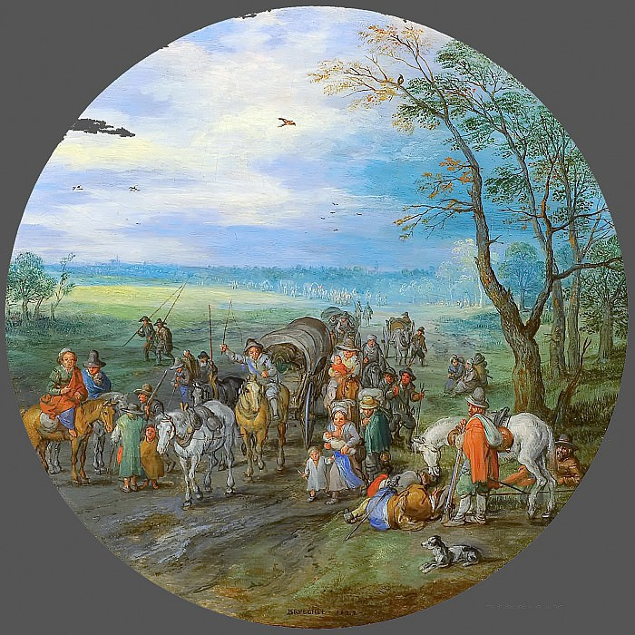 A Landscape With Travellers. Jan Brueghel The Elder