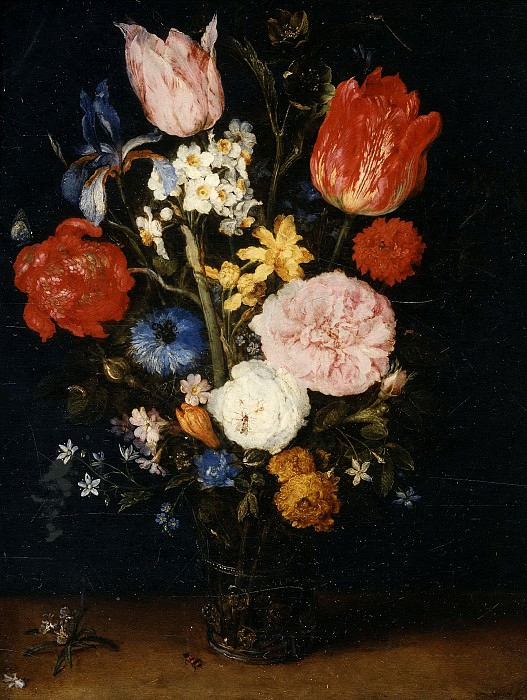 Flowers in a Glass Vase. Jan Brueghel The Elder
