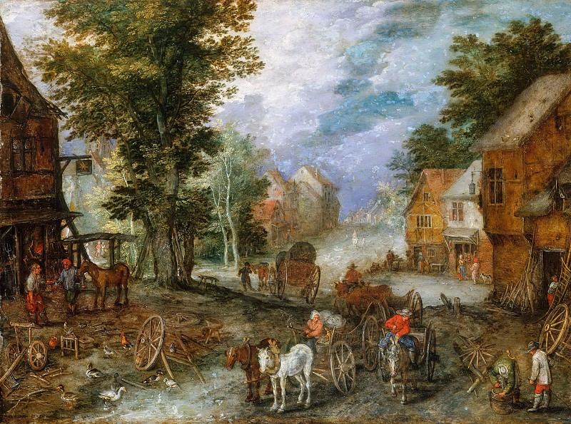 Landscape with a smithy. Jan Brueghel The Elder