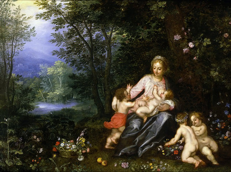 Mary with Christ, John and Putti in a Landscape. Jan Brueghel The Elder