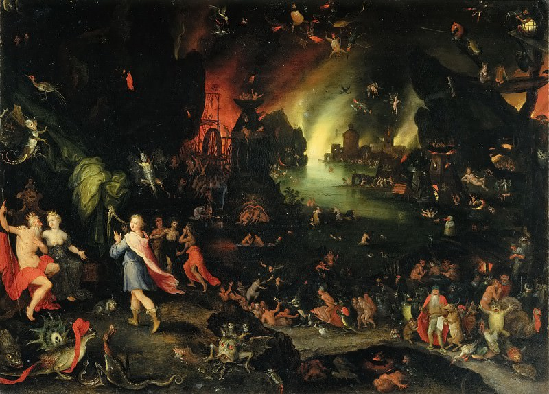 Orpheus Sings before Pluto and Proserpine in the Underworld. Jan Brueghel The Elder