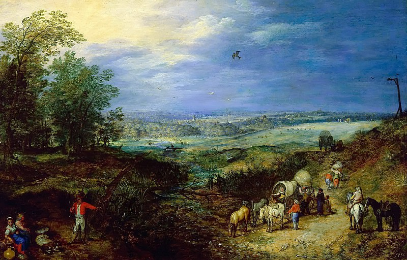 Landscape with Peasants. Jan Brueghel The Elder