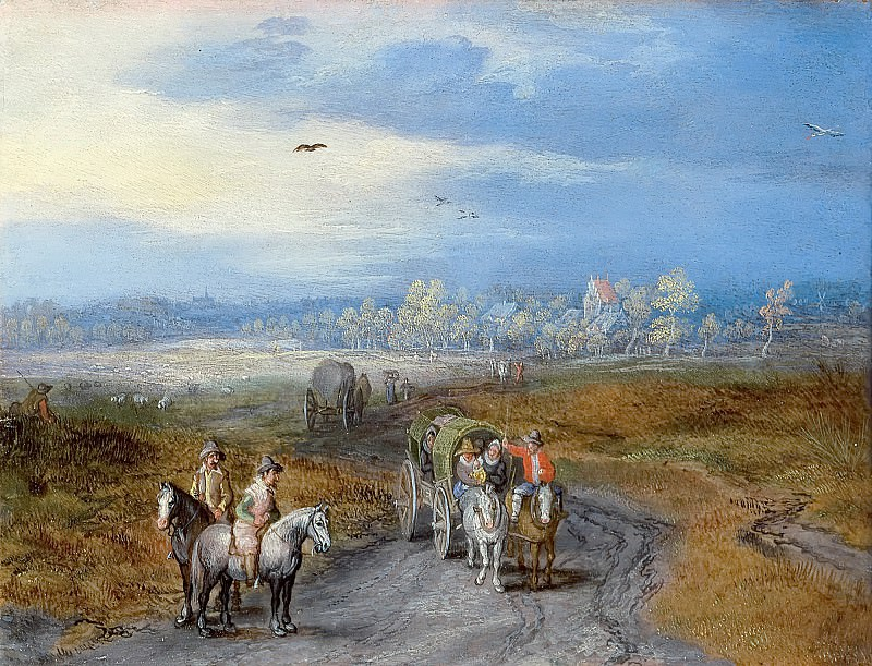 Landscape with travelers. Jan Brueghel The Elder