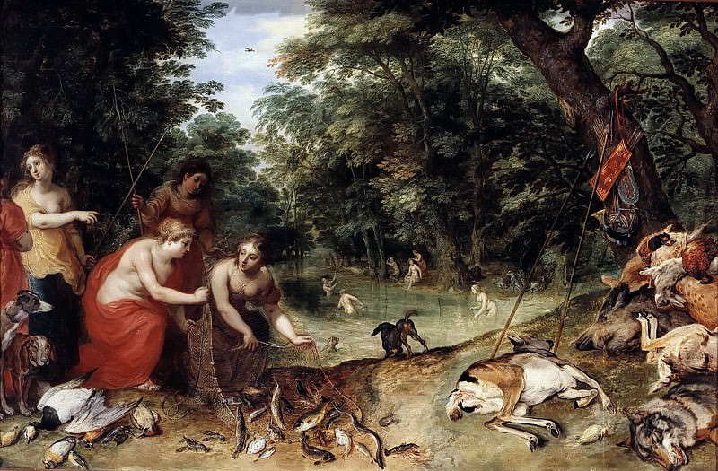 Nymphs of Diana after the fishing and hunting. Jan Brueghel The Elder