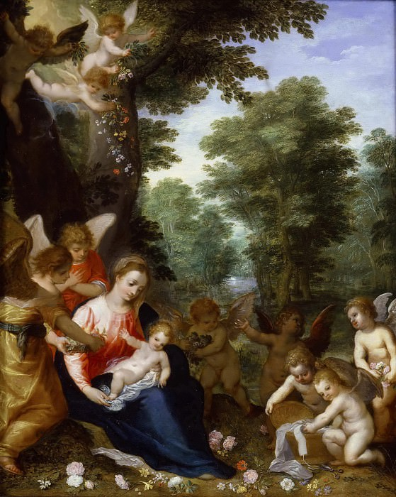Madonna and Child with Angels in a Landscape. Jan Brueghel The Elder