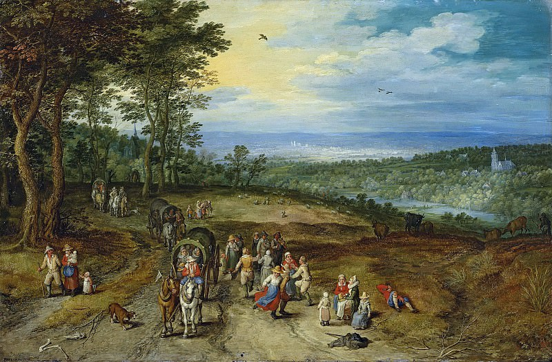 Landscape with Travellers and Peasants on a Track. Jan Brueghel The Elder
