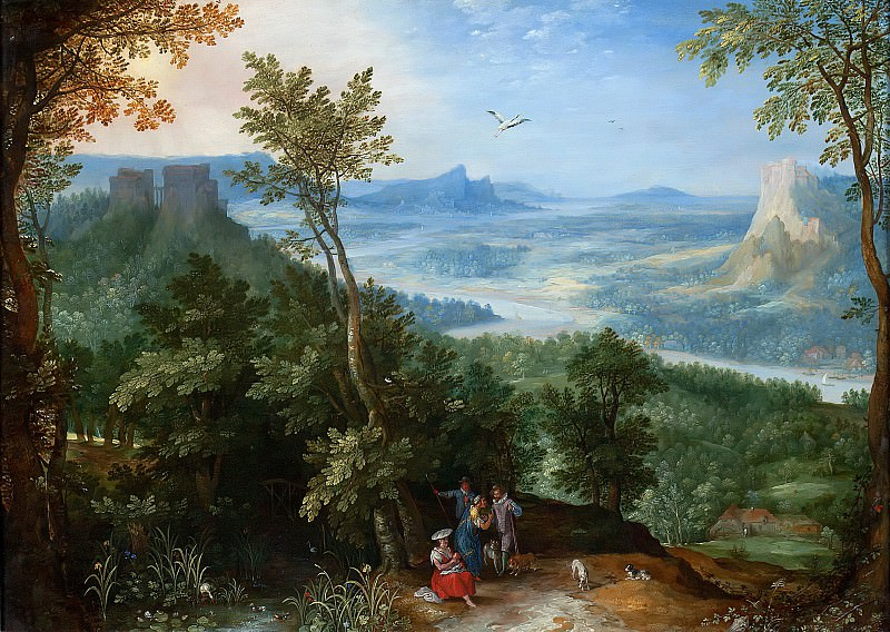View over a Broad River Valley with Gypsies. Jan Brueghel The Elder