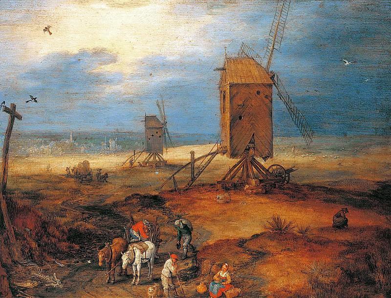Landscape with windmills. Jan Brueghel The Elder