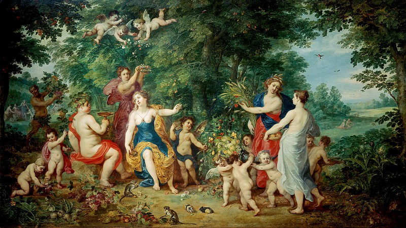 Landscape with Venus, Bacchus and Ceres. Jan Brueghel The Elder