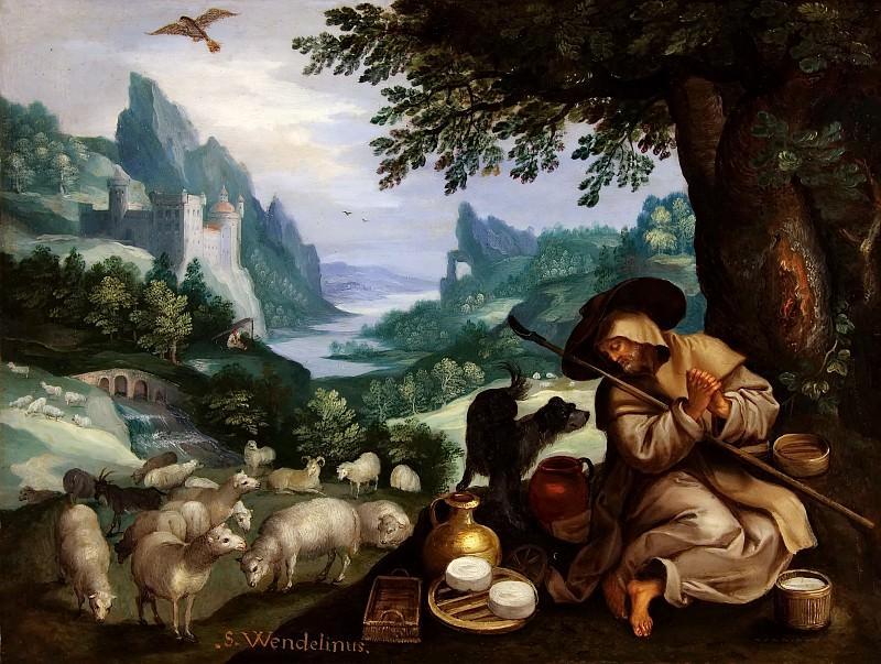 Rocky River Landscape with a holy hermit Wendelin. Jan Brueghel The Elder