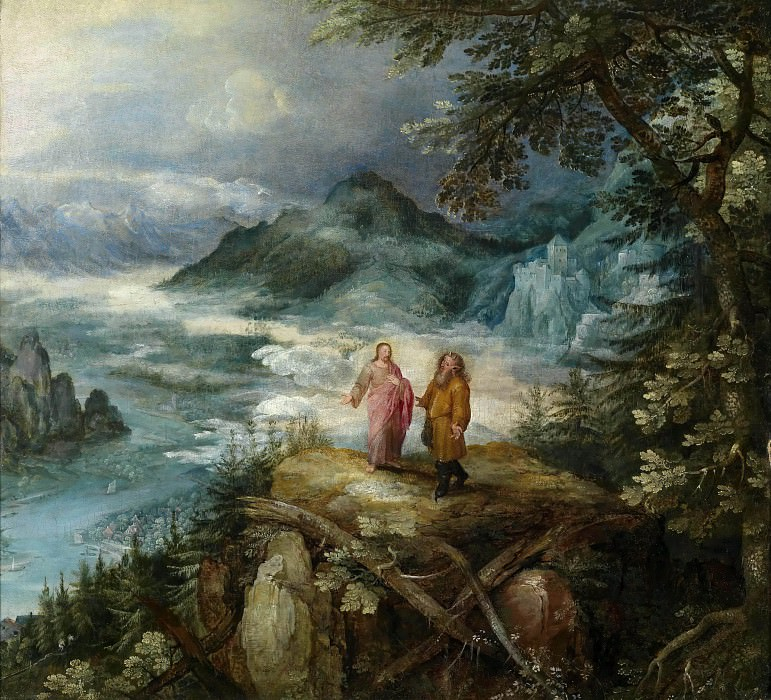 Mountain Landscape with the temptation of Christ. Jan Brueghel The Elder