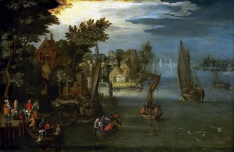 A River Scene with Vessels and a Ferry. Jan Brueghel The Elder