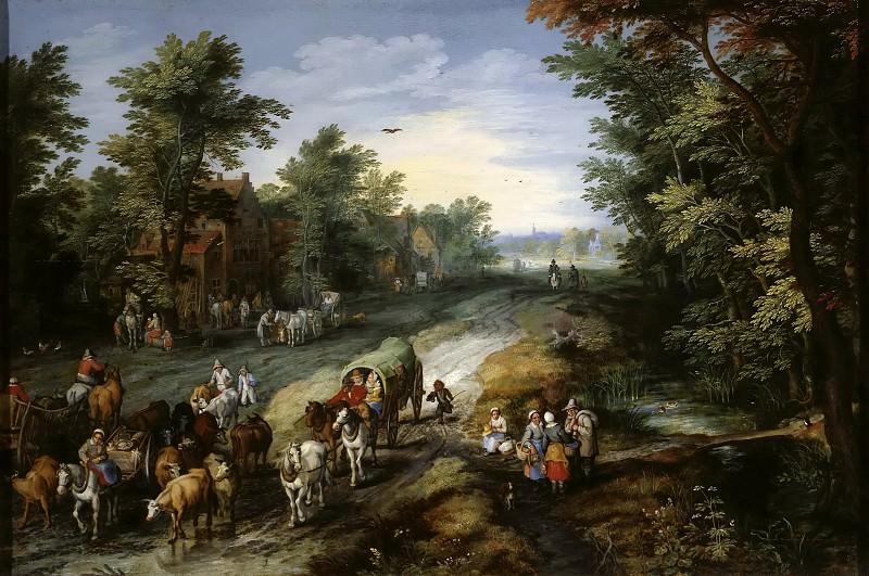 Road in the Environs of a City. Jan Brueghel The Elder
