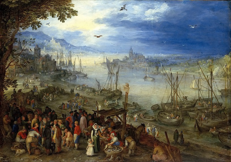 Fish market on the river bank. Jan Brueghel The Elder
