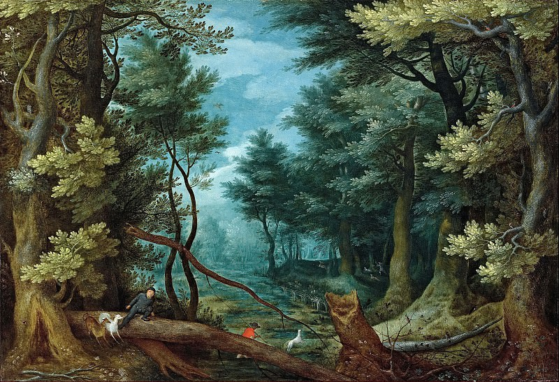 A forest landscape with hunters giving chase to a stag. Jan Brueghel The Elder
