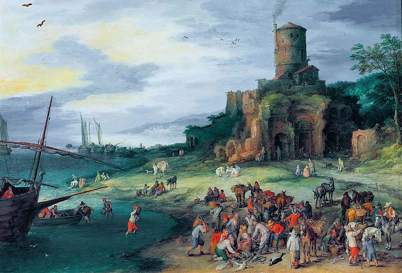 Seascape with Tomb of the Scipios. Jan Brueghel The Elder