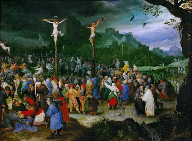 Brueghel, Jan The Elder (1568-1625) -- Распятие. ок1595. 26х35.. Kunsthistorisches Museum