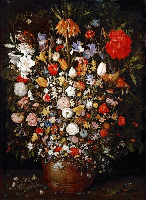 Flowers in a Wooden Vessel. Jan Brueghel The Elder