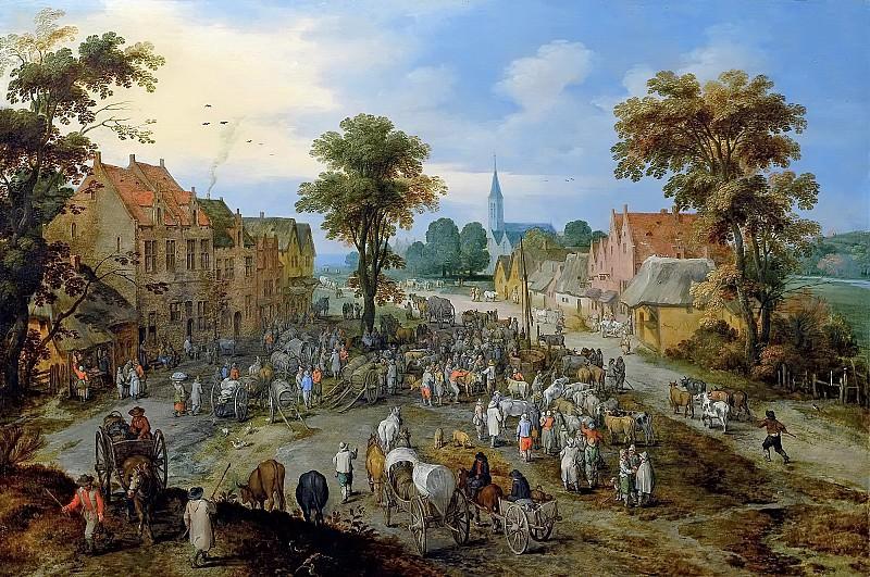 Cattle market in the village. Jan Brueghel The Elder