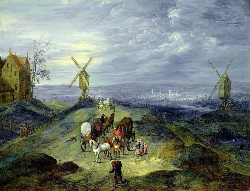 Landscape with Two Windmills. Jan Brueghel The Elder