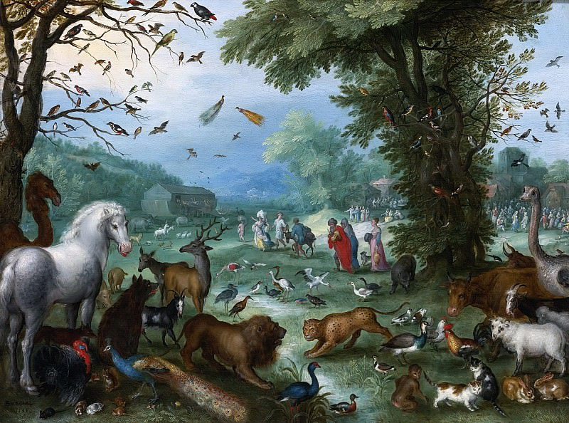 LANDSCAPE WITH THE ANIMALS ENTERING NOAHS ARK. Jan Brueghel The Elder