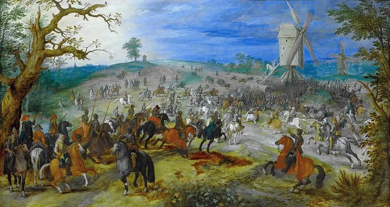 Battle near two mills. Jan Brueghel The Elder